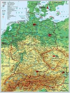 Germania Harta Fizico Geografica Harta Contur Germana Preturi