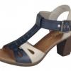 Sandale dama din piele blue mix Rieker