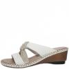 Papuci dama din piele white mix Rieker