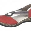 Pantofi dama rosii din nabuc Rieker
